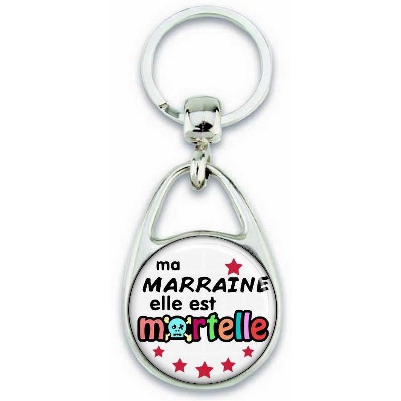Porte clés Marraine - Idée cadeau Marraine - Baptème - Anniversaire - angora