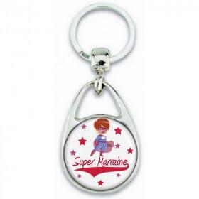 Porte clés Super Marraine - Idée cadeau Marraine - Baptème - Anniversaire - angora - Em création