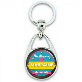 Porte clés Meilleure Marraine du monde - Idée cadeau Marraine - Baptème - Anniversaire - angora - Em création
