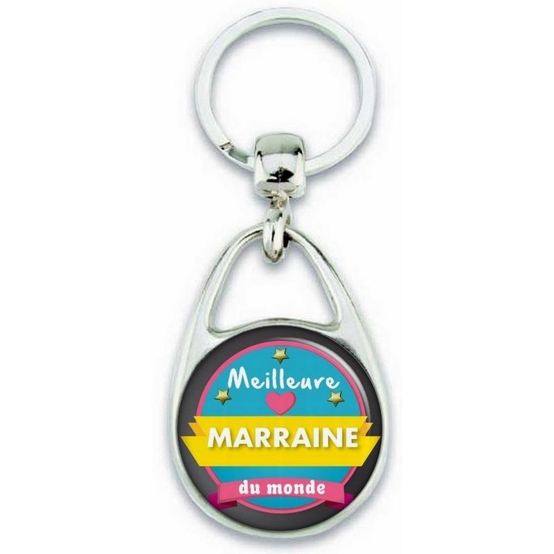 Porte clés Meilleure Marraine du monde - Idée cadeau Marraine - Baptème - Anniversaire - angora