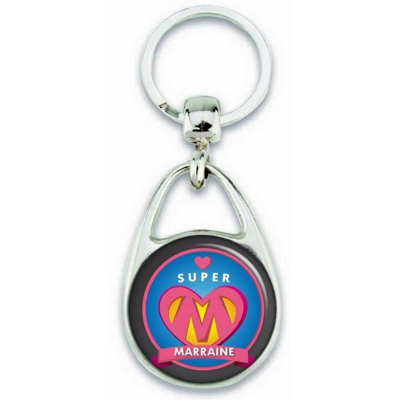 Porte clés Super Marraine - Idée cadeau Marraine - Baptème - Anniversaire - angora