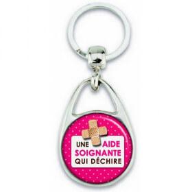 Porte clés Aide Soignante - métal - recto verso - Em création