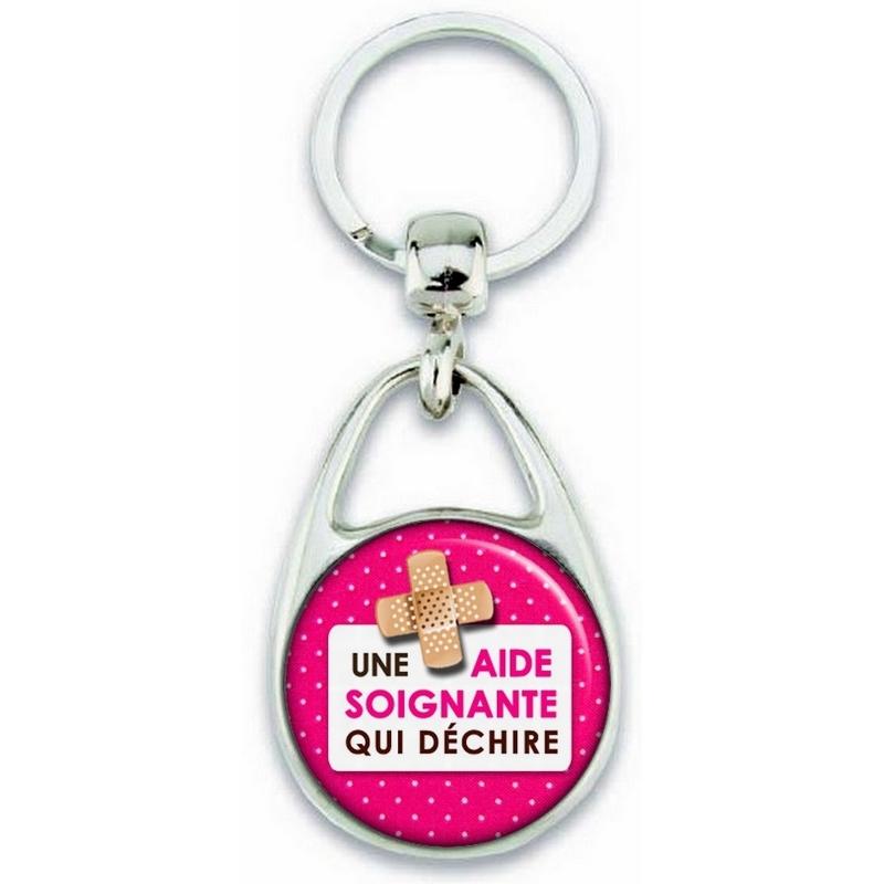 Porte clés Aide Soignante - métal - recto verso