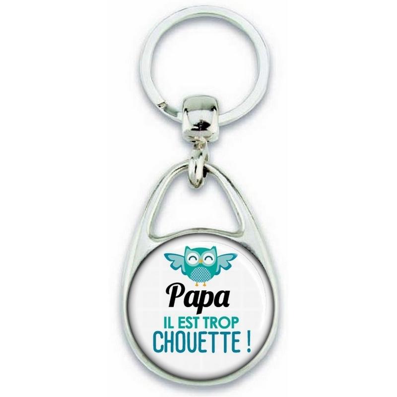 Porte clés Papa - Idée cadeau Papa - Anniversaire Papa - Cadeau fête des pères - Chouette Papa