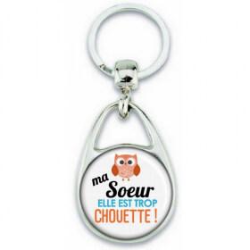 Porte clés Soeur - Idée cadeau Soeur - Anniversaire Soeur - Chouette Soeur - angora