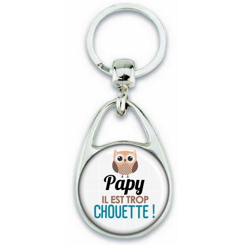Porte clés Papy - Idée cadeau Papy - Anniversaire Papy - Chouette Papy - fête des grand-pères