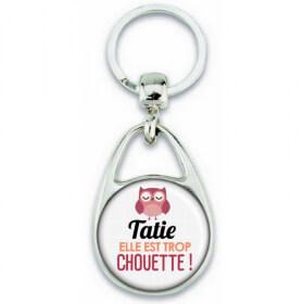 Porte clés Tatie - Idée cadeau Tatie - Anniversaire Tatie - Chouette Tatie - angora - Em création