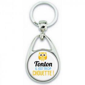 Porte clés Tonton - Idée cadeau Tonton - Anniversaire Tonton - Chouette Tonton - angora - Em création