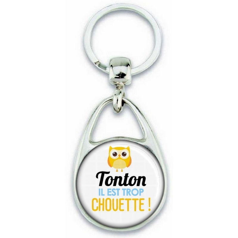 Porte clés Tonton - Idée cadeau Tonton - Anniversaire Tonton - Chouette Tonton - angora