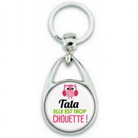 Porte clés Tata - Idée cadeau Tata - Anniversaire Tata - Chouette Tata - angora - Em création