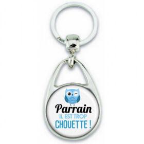 Porte clés Parrain - Idée cadeau Parrain - Anniversaire Parrain - Chouette Parrain - Idée cadeau baptème - Em création