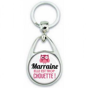 Porte clés Marraine - Idée cadeau Marraine - Anniversaire Marraine - Chouette Marraine - Idée cadeau baptème - Em création