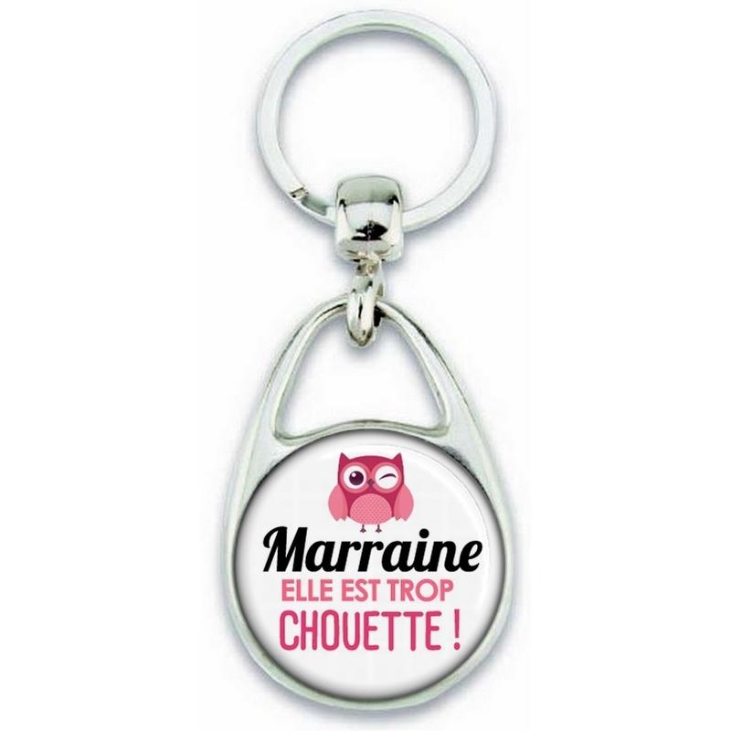 Porte clés Marraine - Idée cadeau Marraine - Anniversaire Marraine - Chouette Marraine - Idée cadeau baptème