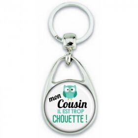 Porte clés Cousin - Idée cadeau Cousin - Anniversaire Cousin - Chouette Cousin