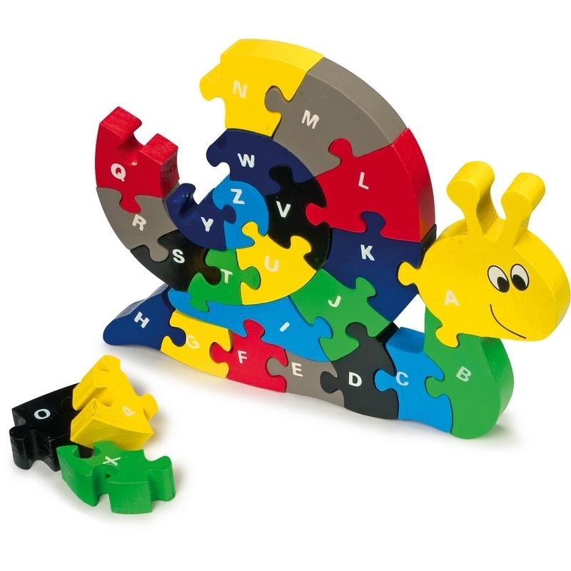 Puzzle escargot 3d - Puzzle enfant alphabet - En bois