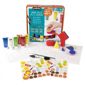 Coffret peinture Gouache pour enfant puzzle graphique - Pébéo - Em création