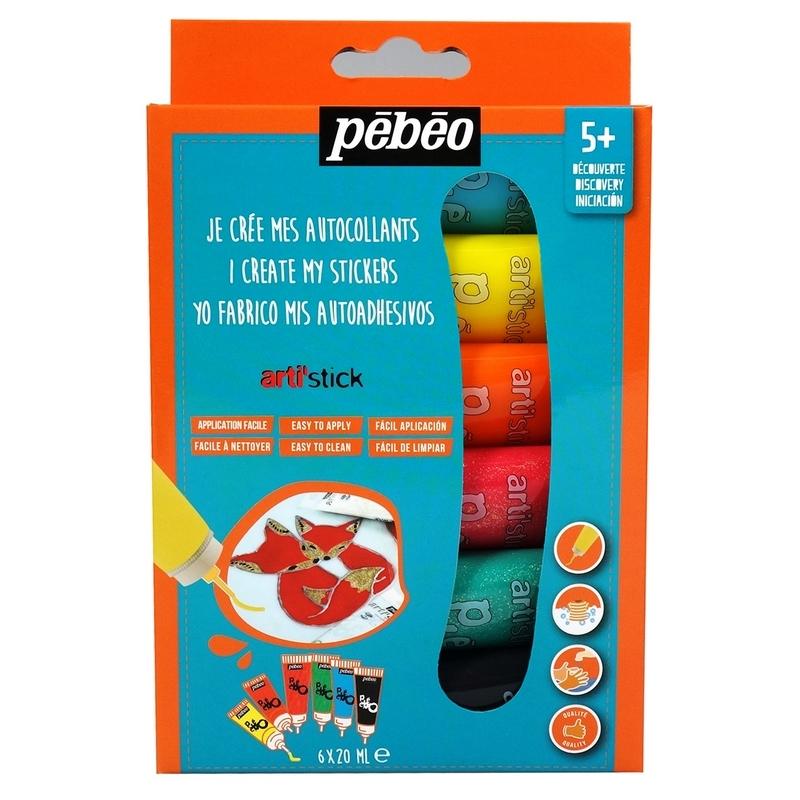 Peinture stickers Arti'stick Pébéo - 6 x 20 ml - Em création