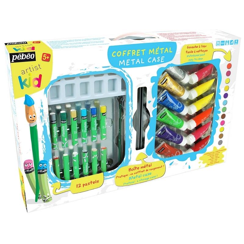 Coffret en métal Artist kid - Peinture + pastels - Em création