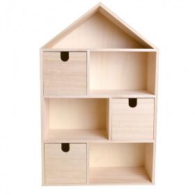 Maisonen bois avec 3 tiroirs à décorer- artemio - Em création