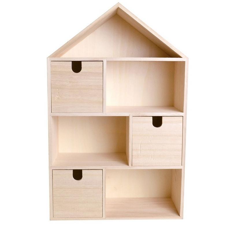 Maisonen bois avec 3 tiroirs à décorer- artemio