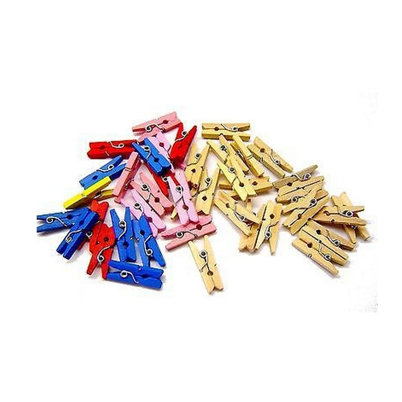 Mini pinces à linge de couleurs - lot de 200 mini pinces