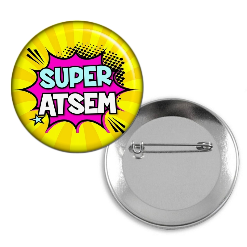 Badge Atsem - Idée cadeau Atsem - Broche épingle Atsem