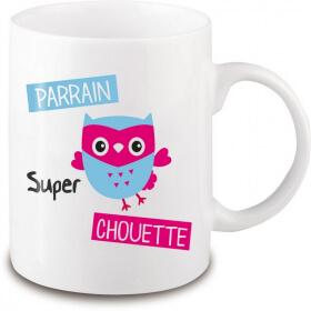 Mug chouette parrain - Cadeau original parrain - Tasse originale parrain - angora - Em création