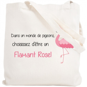 Tote bag Flamant Rose - Sac Shopping - Angora - Em création