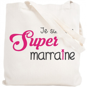 Tote bag marraine - Sac réutilisable Marraine - angora - Em création
