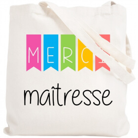 Tote bag Merci maîtresse - Sac shopping Maitresse - angora - Em création