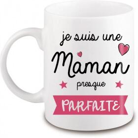 Mug maman presque parfaite - Idée cadeau maman - Tasse Maman - angora - Em création