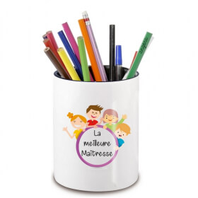 Pot à crayon Maîtresse - Idée cadeau Maîtresse - Cadeau fin d'année scolaire - cadeau original maitresse d'école - angora - Em création
