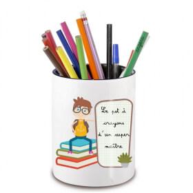 Pot à crayon maître d'école - idée cadeau maitre d'école - Cadeau fin d'année scolaire - angora - Em création