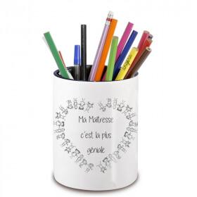 Pot à crayon maîtresse d'école - idée cadeau maitresse d'école - Cadeau fin d'année scolaire - angora - Em création