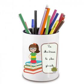 Pot à crayon maitre d'école - cadeau original maitre d'école - Cadeau école fin d'année scolaire - angora - Em création
