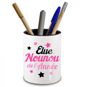 Pot à crayon Nounou -Idée cadeau originale Nounou - Cadeau fin de contrat nounou - angora - Em création