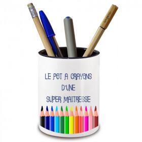 Pot à crayon maitresse d'école- angora - Idée cadeau maitresse d'école - Em création