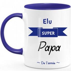 Mug papa - Mug bleu papa - Super Papa - Em création