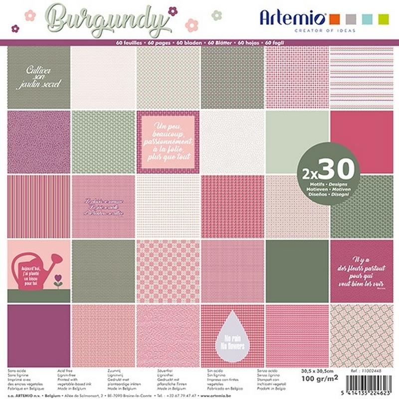 Papier Scrapbooking - Burgundy - Loisirs créatifs