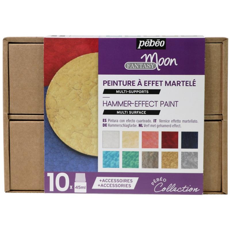 Coffret peinture à effet martelé 10x45 ml - pébéo - Fantasy Moon - collection
