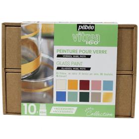 Coffret peinture sur verre pastel 10x45 ml - pébéo - vitrea 160 - collection - Em création