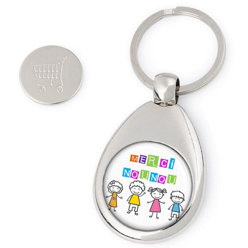 Porte clés jeton de caddie Nounou - idée cadeau Nounou