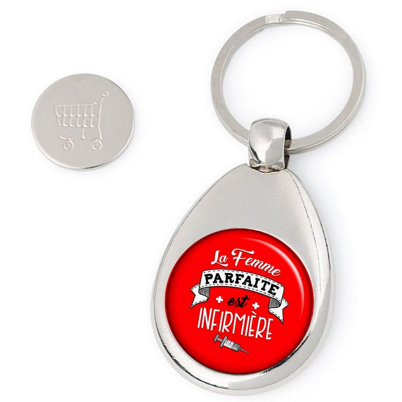 Porte clés jeton de caddie Infirmière - idée cadeau Infirmière