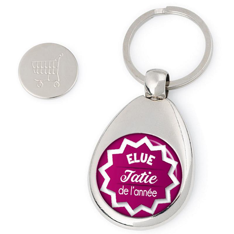 Porte clés jeton de caddie Tatie - idée cadeau Tatie