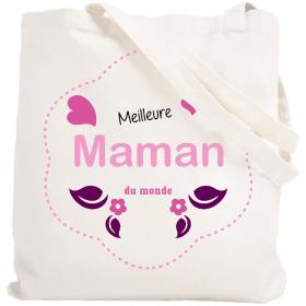 Tote bag Maman - Sac meilleure maman du monde - blanc - Em création