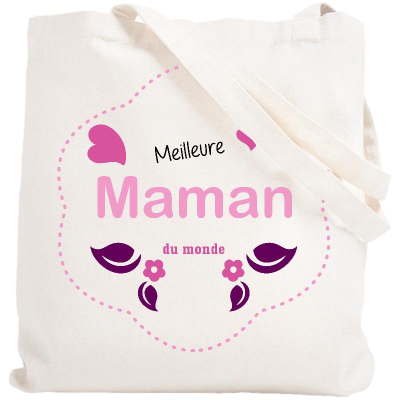 Tote bag Maman - Sac meilleure maman du monde - blanc
