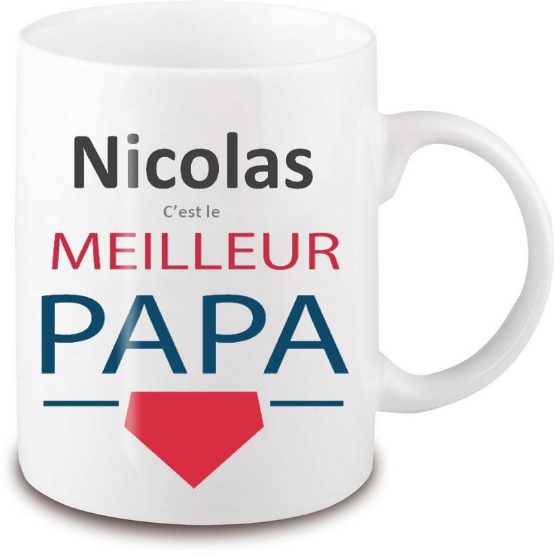 mug papa personnalisé - Avec prénom - blanc
