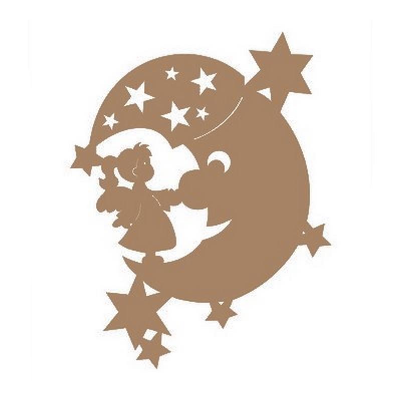 Support en bois à peindre Enfant sur la lune étoilée - Em création