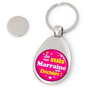Porte clés jeton de caddie Marraine