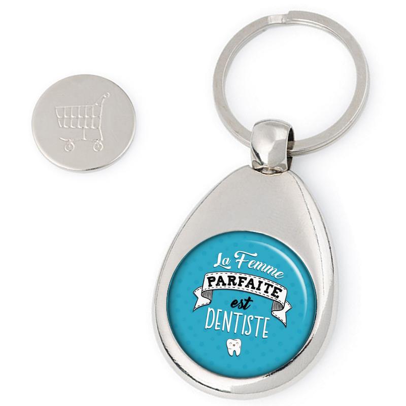 Porte clés jeton de caddie Dentiste - idée cadeau Dentiste